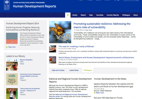 United Nations Development Programme Human Development Reports Website Screenshot